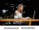 charming young caucasian woman... | Shutterstock . vector #345206981