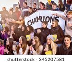 sport fans in warm clothers... | Shutterstock . vector #345207581