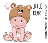 cute cartoon baby boy in a bear ...   Shutterstock .eps vector #345219764