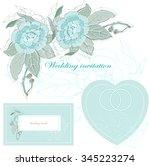 wedding vector set with blue...   Shutterstock .eps vector #345223274