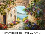 oil painting   house near the... | Shutterstock . vector #345227747