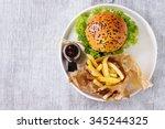 fresh homemade burger with... | Shutterstock . vector #345244325