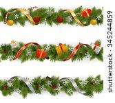 vector christmas border set 3 | Shutterstock .eps vector #345244859
