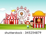 children buying ticket at the... | Shutterstock .eps vector #345254879
