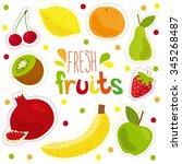 cartoon fresh fruits in flat... | Shutterstock .eps vector #345268487