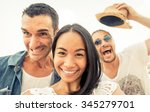 crazy selfie with funny faces.... | Shutterstock . vector #345279701