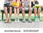 group of students studying... | Shutterstock . vector #345281069