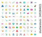 medicine 100 icons set for web... | Shutterstock .eps vector #345284021