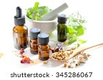 essential oils with herbs and...   Shutterstock . vector #345286067