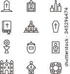 death   funeral set of outline... | Shutterstock .eps vector #345296474