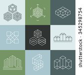 vector set of logo design... | Shutterstock .eps vector #345298754