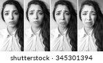 emotional beautiful young woman ... | Shutterstock . vector #345301394