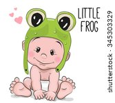 cute cartoon baby boy in a frog ...