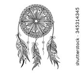 dreamcatcher with feathers... | Shutterstock .eps vector #345314345