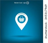 map pointer with a shopping... | Shutterstock .eps vector #345317969