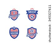 logo for a soccer and football... | Shutterstock . vector #345327611