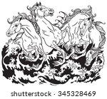 Four Mythological Seahorses...
