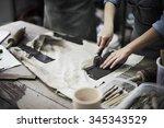 craftsman artist pottery skill... | Shutterstock . vector #345343529