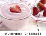 strawberry yogurt with fresh...   Shutterstock . vector #345356855
