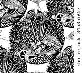 seamless monochrome floral... | Shutterstock .eps vector #345359657