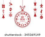 christmas bauble ornaments red... | Shutterstock .eps vector #345369149