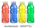 Stock photo a close up on a set of isolated sports drink bottles 34537711