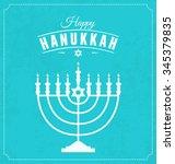 hanukkah typographic vector... | Shutterstock .eps vector #345379835