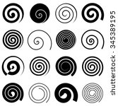 Set of simple spiral elements, isolated vector graphic