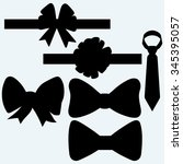 set gift bows with ribbons and...   Shutterstock .eps vector #345395057