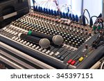 two wireless microphone on... | Shutterstock . vector #345397151