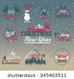 2017 christmas set   labels ... | Shutterstock .eps vector #345403511