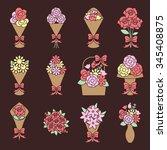 flower bouquet icons set | Shutterstock .eps vector #345408875