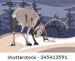a strong antlered reindeer on... | Shutterstock .eps vector #345413591