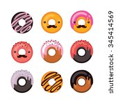 delicious donut icon set sweet... | Shutterstock .eps vector #345414569