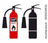 fire extinguisher icon set | Shutterstock .eps vector #345424931