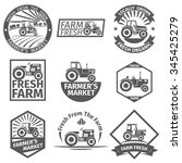 Farm Labels With Tractor....