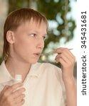 portrait of a little boy fell... | Shutterstock . vector #345431681