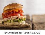 delicious sandwich with ham ... | Shutterstock . vector #345433727