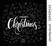 merry christmas lettering... | Shutterstock . vector #345439115