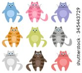 cute colorful cats set | Shutterstock .eps vector #345443729