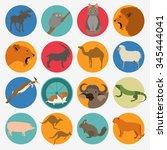 animals mammals icon set.... | Shutterstock .eps vector #345444041