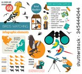 bird watching infographic... | Shutterstock .eps vector #345444044