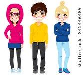 full body illustration of three ... | Shutterstock .eps vector #345446489