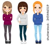 full body illustration of three ...