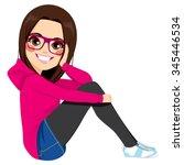 beautiful brunette teenager... | Shutterstock .eps vector #345446534