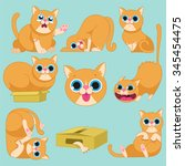 red cat in different emotions... | Shutterstock .eps vector #345454475