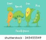 funny vegetables holding hands...   Shutterstock .eps vector #345455549