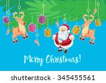 christmas toys hanging on a... | Shutterstock .eps vector #345455561