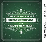 merry christmas greeting card... | Shutterstock .eps vector #345457049