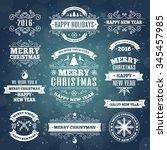 merry christmas vintage white... | Shutterstock .eps vector #345457985